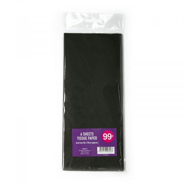6 Sheets Tissue Paper Black