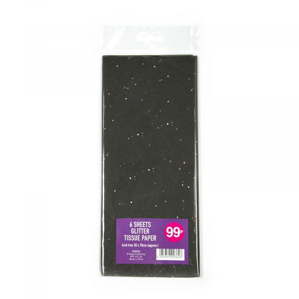 6 Sheets Glitter Tissue Black