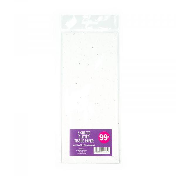 6 Sheets Glitter Tissue Paper White
