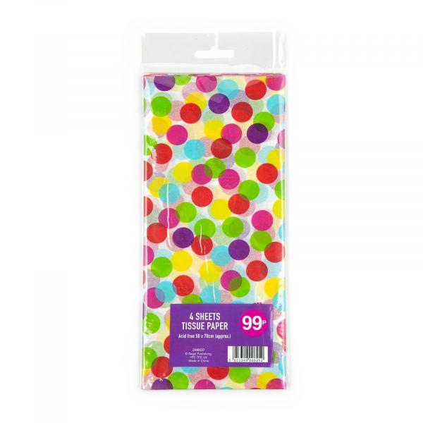 4 Sheets Tissue Paper Colour Dots
