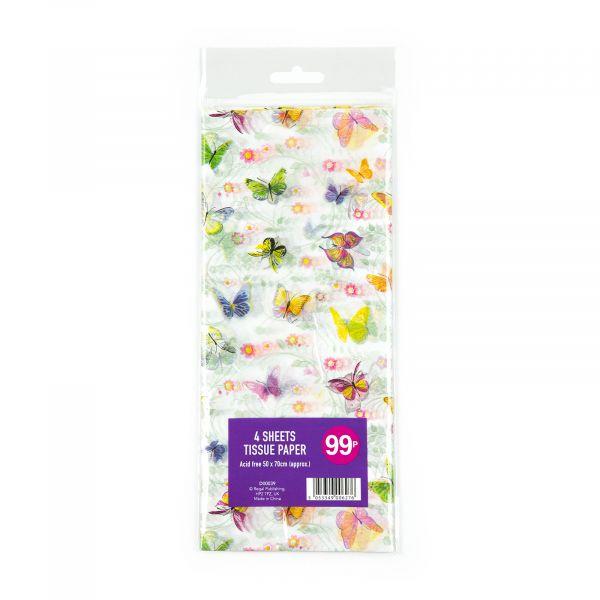 4 Sheets Tissue Paper Butterflies