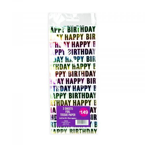 3 Sheets Tissue Paper Foil Happy Birthday