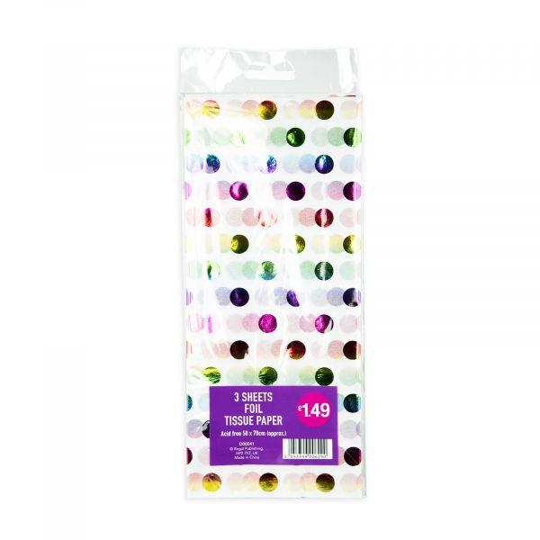 3 Sheets Tissue Paper Rainbow Foil Dots
