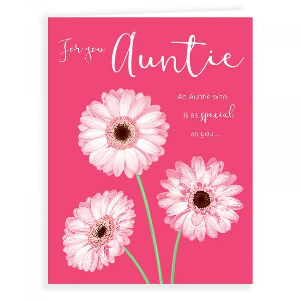 Birthday Card Auntie, 3 Pink Flowers