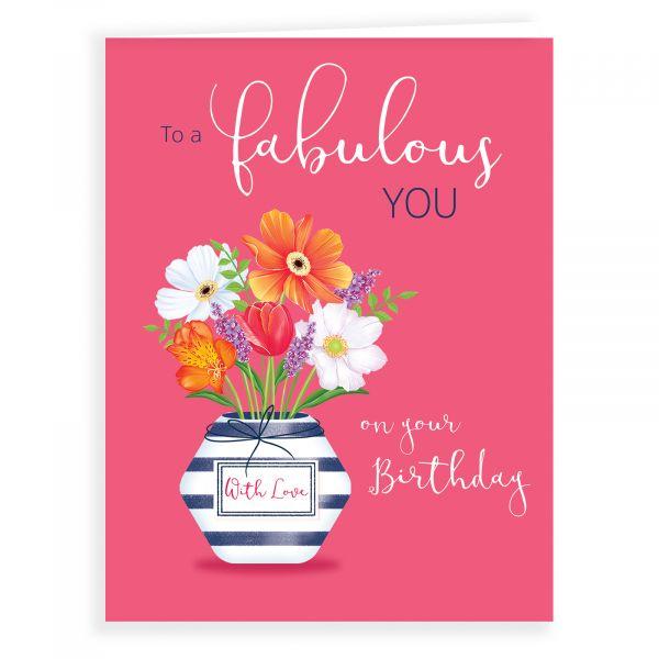 Birthday Card Open, Fabulous Vase