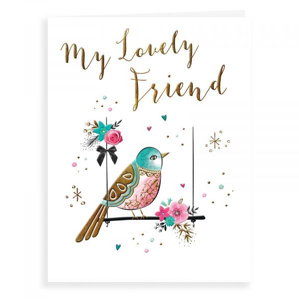 Birthday Card Friend, Bird On Swing