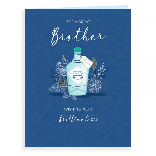 Birthday Card Brother, Gin Bottle