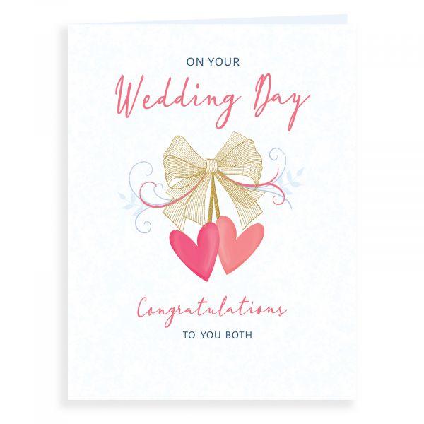 Wedding Card, Bow & Hearts