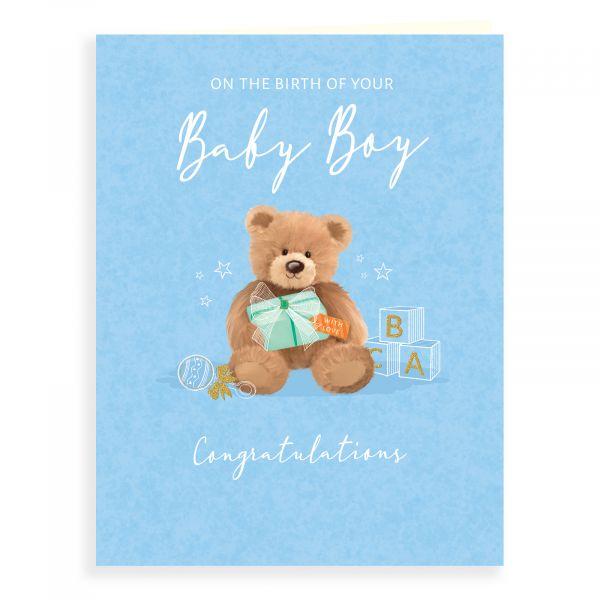 Baby Card Baby Boy, Teddy & Present