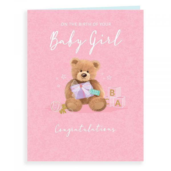 Baby Card Baby Girl, Teddy & Present
