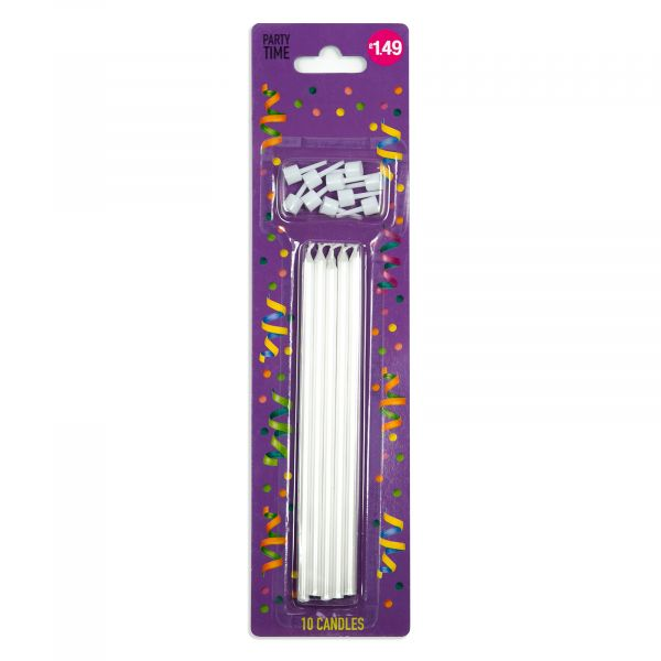 10 Pearlized White Candles 15.5cm
