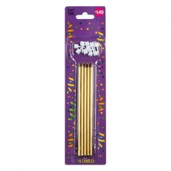 10 Gold Candles 15.5cm