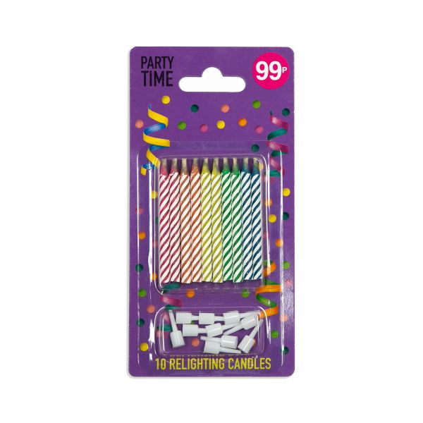 10 Multicolour Relighting Candles 7.5cm
