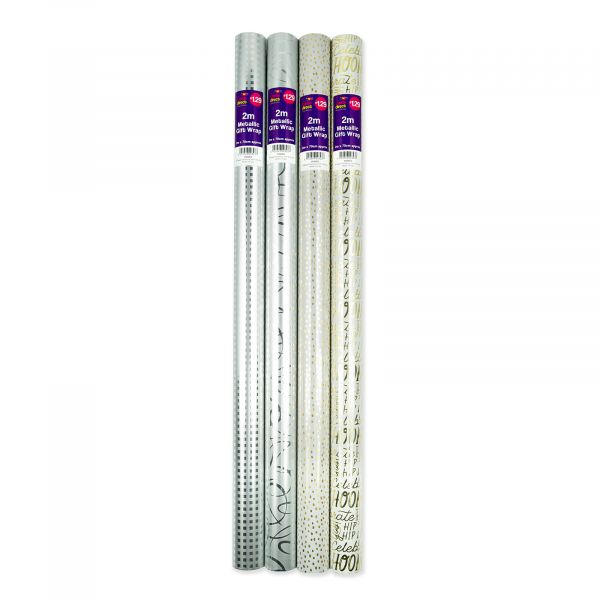 4 assorted Neutrals 2m Metallic Roll Wrap