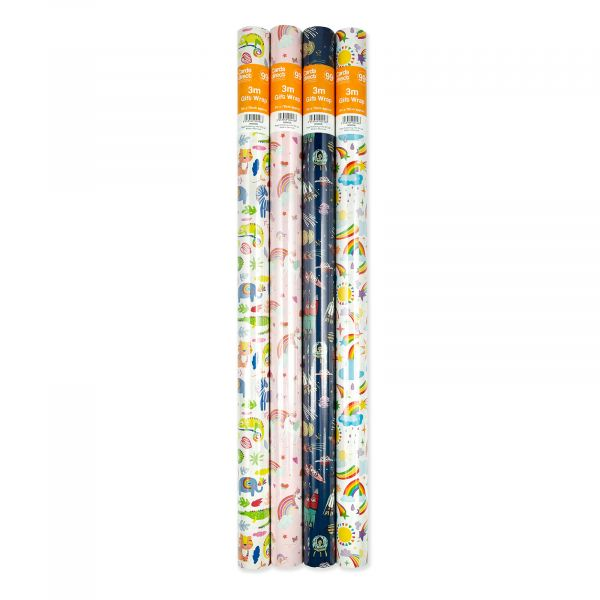 4 assorted Juvenile 3m Roll Wrap