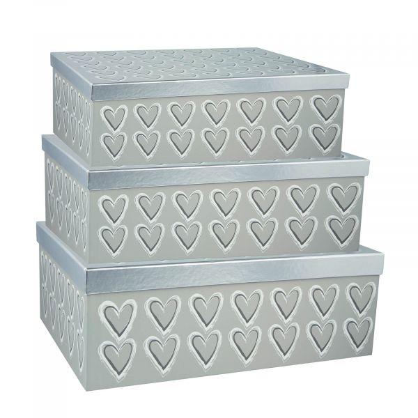 Wedding Hearts Silver Gift Boxes