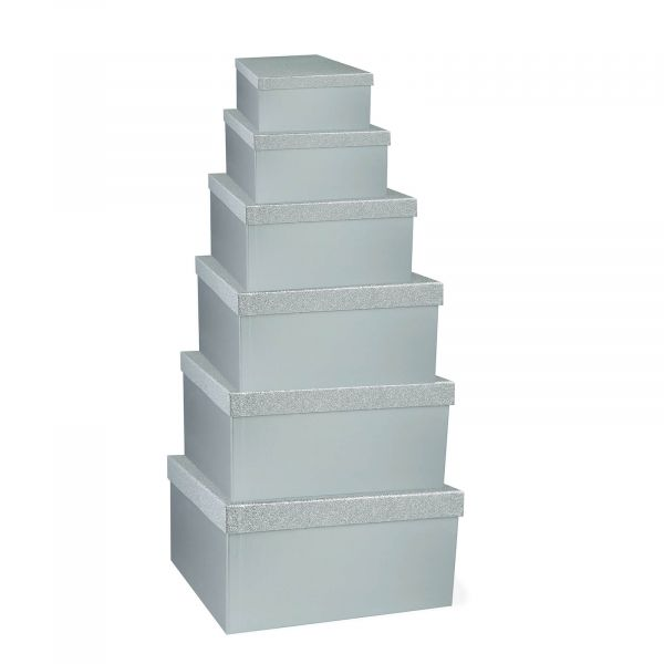 Silver Glitter Gift Boxes