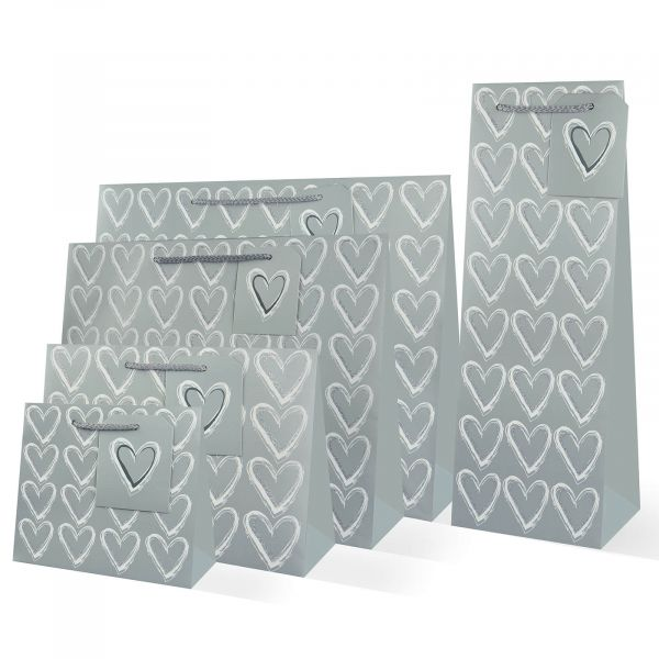 Silver Hearts Gift Bags
