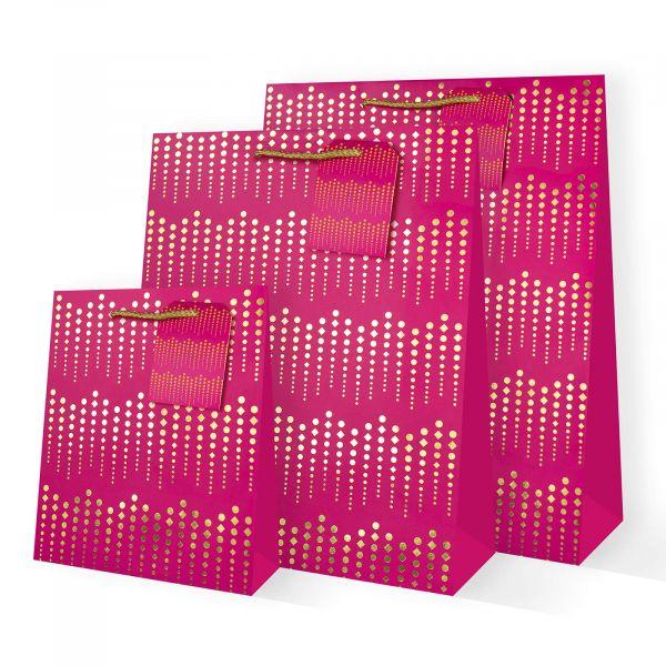 Gold on Fuschia Gift Bags