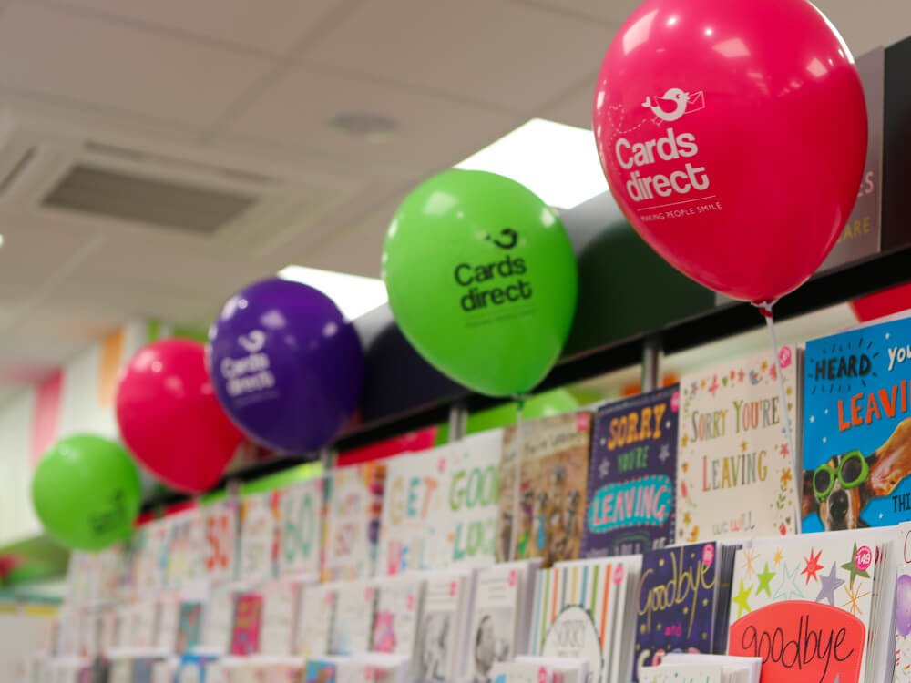 Cards shop display with balloons