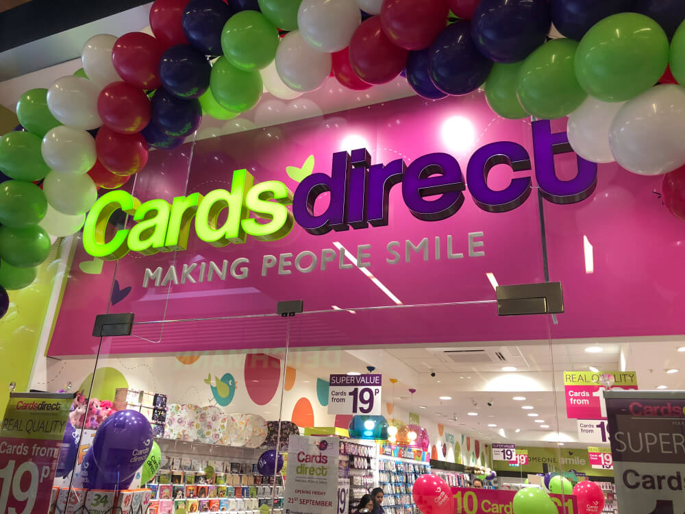 Cards Direct storefront with balloons